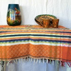 Orange Fringed Mexican Tablecloth Vintage 50s